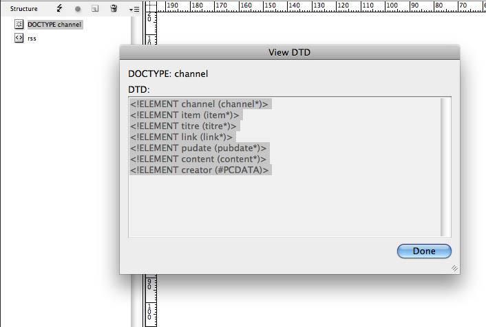 Pour afficher votre DTD, double-cliquez sur le doctype